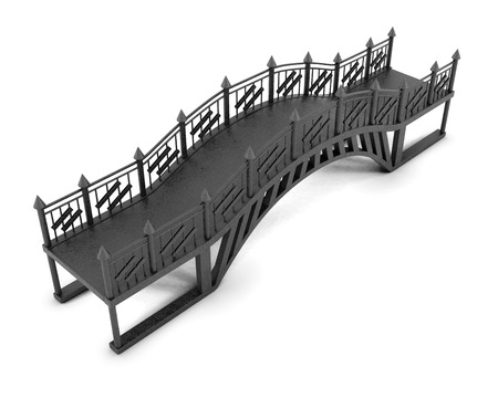 victorian fence: Iron footbridge on white background. 3 d rendering.