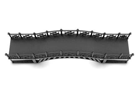 victorian fence: Top view of the iron bridge on a white background.  3d rendering. Stock Photo