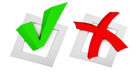 red cross: marca verde y una cruz roja en los cuadros sobre fondo blanco. Las 3D. Foto de archivo