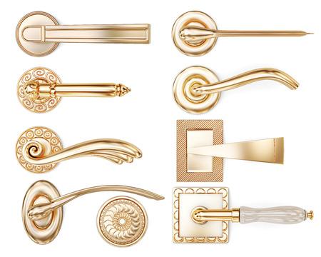 handle: Set of different types of door handles. 3d rendering. Stock Photo