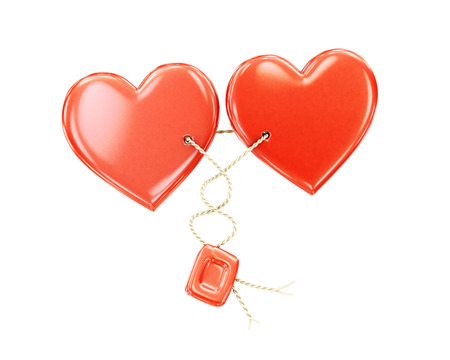sealing wax: Two hearts together on a white background. 3d render image.