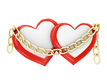 bondage: Two hearts in chains on a white background. 3d rendering. Stock Photo