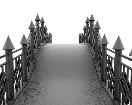 pedestrian: Iron pedestrian bridge full face on white background. 3d rendering. Stock Photo