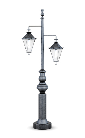 Street lamp isolated on white background. 3d rendering.
