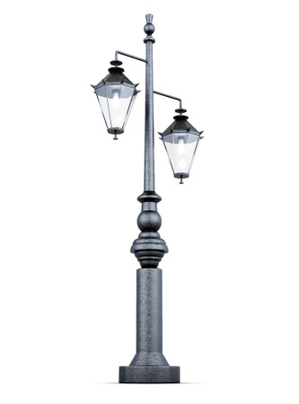 column: Light post isolated on a white background. 3d rendering.