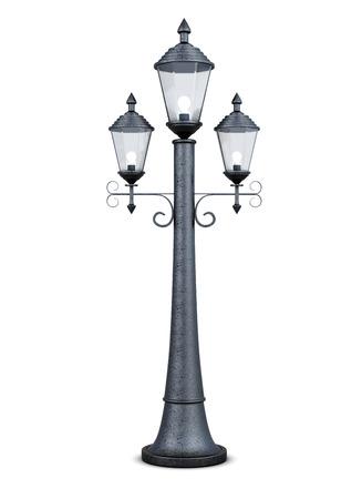 Vintage lampione isolato su sfondo bianco. rendering 3d.