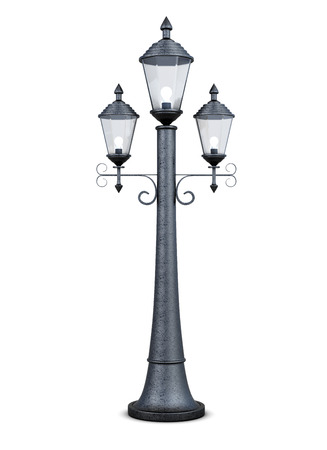 street lamp: Vintage street lamp isolated on white background. 3d rendering. Stock Photo