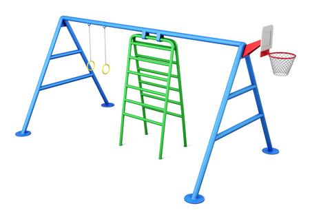 jardin de infantes: Zona de juegos aislado sobre fondo blanco. Las 3D. Foto de archivo