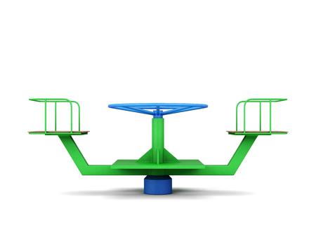 propel: Playground merry-go-round on a white. 3d rendering.