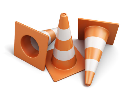 Few traffic cones isolated on a white background. 3d render image. Stock Photo