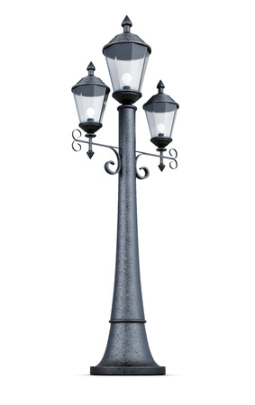 retro lamp: Retro lamp post isolated on white background. 3d rendering. Stock Photo