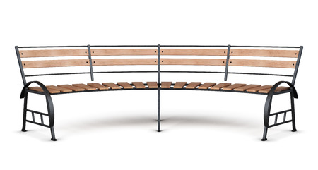 metal legs: Park bench arc on a white background. Front view. 3d render image. Stock Photo