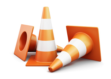 traffic   cones: Few traffic cones on a white background. 3d render image.