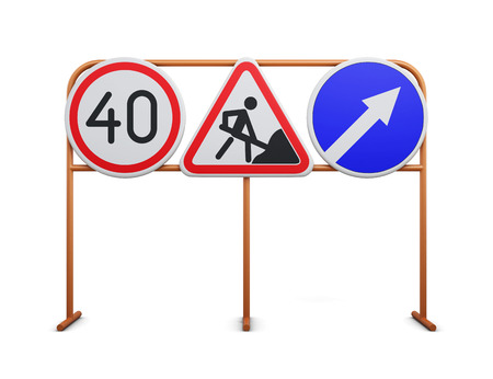detour: Speed limit, repair work, detour road signs on a white background. 3d rendering.