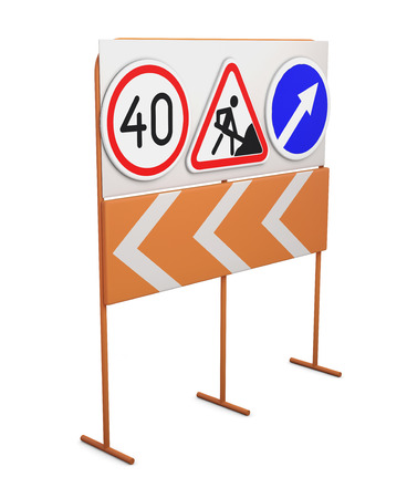 superstructure: Road signs on a rack isolated on white background. 3d rendering. Stock Photo