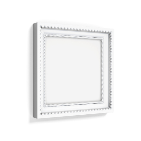 wood carving 3d: Carved picture frame isolated on white background. 3d rendering.