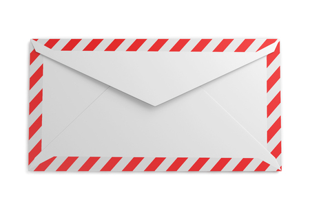reverse: Reverse side of the envelope with striped frame on a white background. 3d rendering.