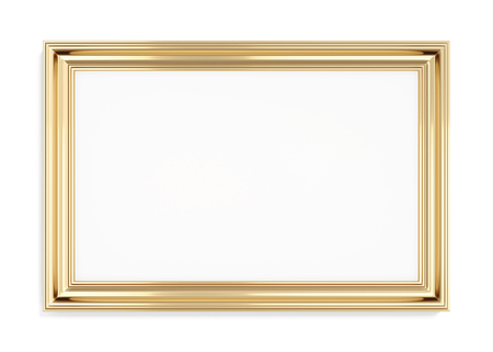 wood carving 3d: Rectangular gold picture frame on a white background. 3d rendering.