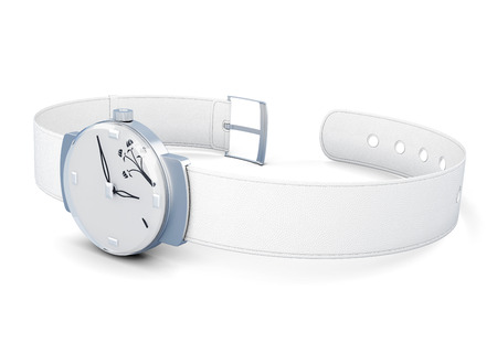 wrist strap: Womens wrist watch with white strap on white background. 3d render image