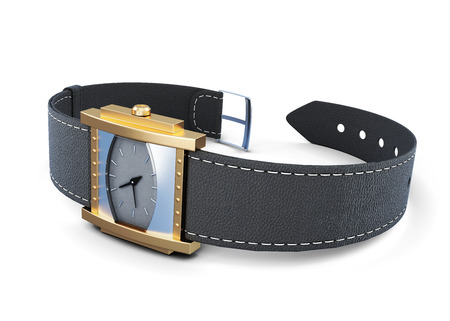 wrist strap: Wrist watch with black strap on a white background. 3d rendering. Stock Photo