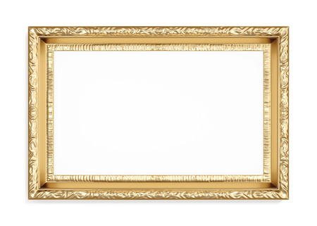 wood carving 3d: Gold carved picture frame isolated on white background. 3d render.