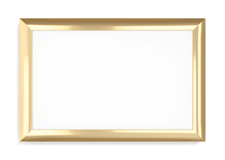 wood carving 3d: Gold frame on a white background. 3d rendering.