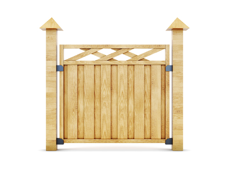 rail yard: Wooden fence isolated on white background. One section of the fence. 3d illustration. Stock Photo