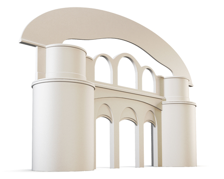 pillars: Arch and pillars isolated on white background. 3d render image.