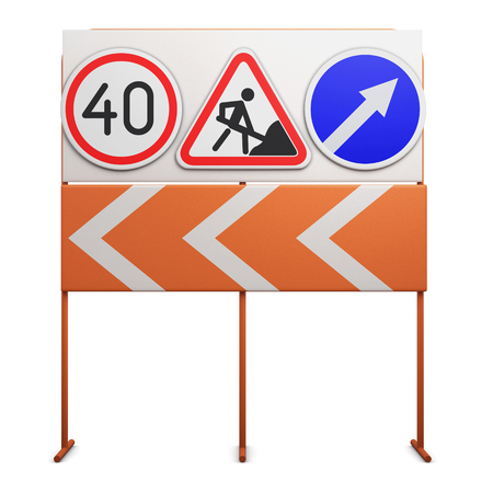 detour: Stand with traffic signs on white background. 3d illustration.