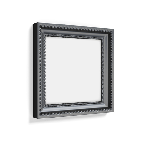 black picture frame: Carved black picture frame on white background. 3d rendering. Stock Photo