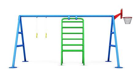 jardin de ni�os: Juegos para ni�os aislados sobre fondo blanco. Las 3D.