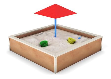 Sandbox isolated on white background. 3d rendering. Reklamní fotografie
