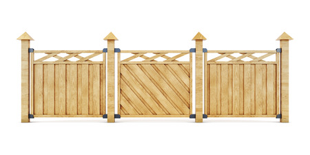 superstructure: 3d picture wooden fence isolated on white background