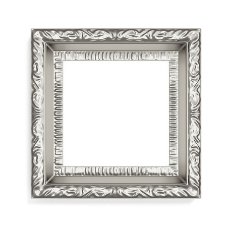 wood carving 3d: Silver photo frame with pattern on white background. 3d rendering.