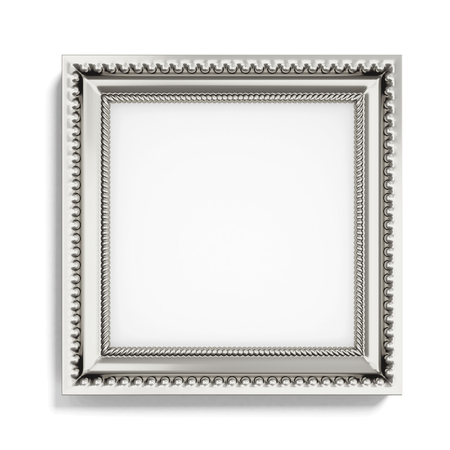 wood carving 3d: Carved silver picture frame on white background. 3d rendering.