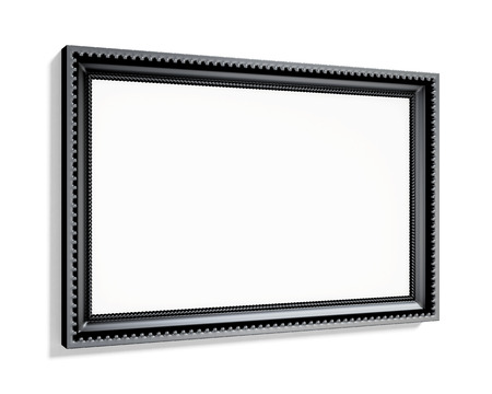 wood carving 3d: Black rectangular frame isolated on white background. 3d rendering.