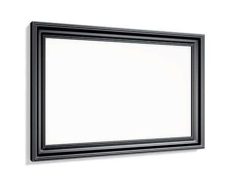 wood carving 3d: Rectangular black picture frame on a white background. 3d rendering. Stock Photo