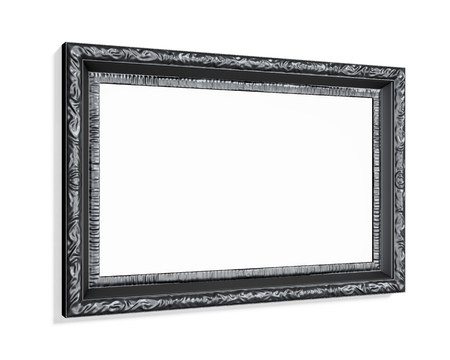wood carving 3d: Black carved picture frame isolated on white background. 3d render. Stock Photo