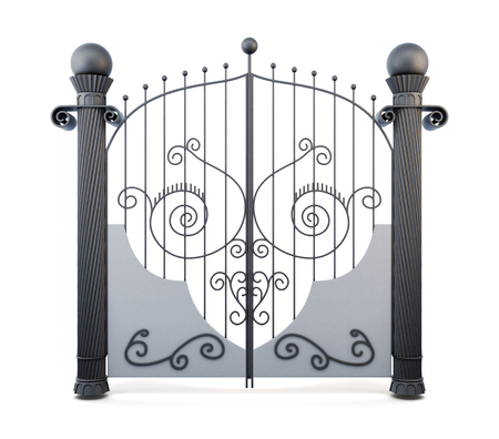 wrought: Metal wrought iron gate on a white background. 3d rendering.