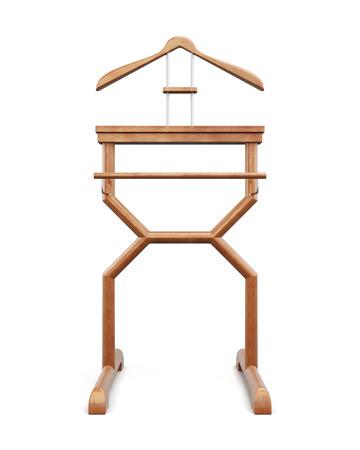 Suspensión de ropa al aire libre en un fondo blanco. Representación 3D.