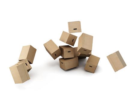cajas de carton: Pila de cajas de cartón, la imagen conceptual sobre un fondo blanco. Las 3D Foto de archivo
