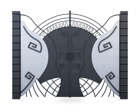 Designer iron gate isolated on white background. 3d rendering.