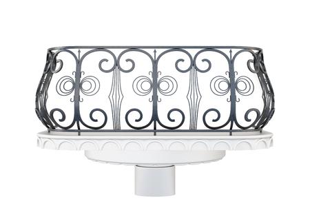 railing: Balcony with a decorative railing isolated on white background. Stock Photo