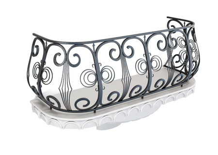 decorative balcony: Decorative balcony on a white background. 3d rendering. Stock Photo