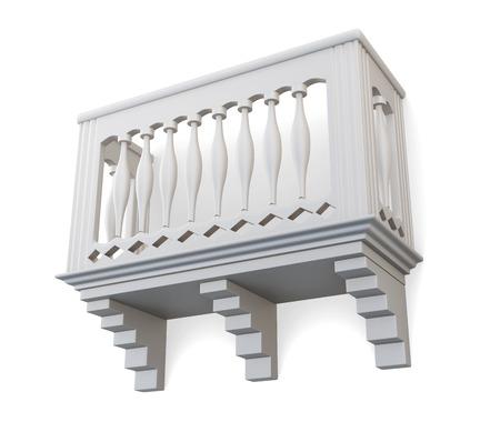 Balkon op een witte achtergrond. 3D-afbeelding. Stockfoto