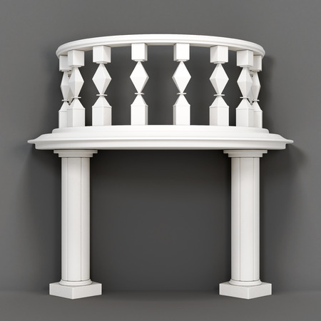 balustrades: Decorative balcony on a gray background. 3d rendering. Stock Photo