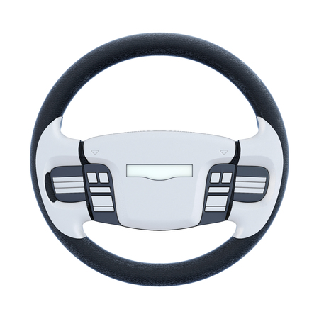 airbag: Car steering wheel isolated on white background. 3d rendering. Stock Photo