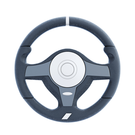 Racing wheel isolated on white background. 3d rendering.