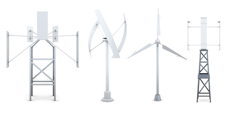 alternative energy sources: Set of wind electricity generators. Alternative sources of energy. 3d rendering.