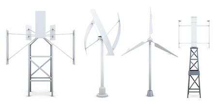 regenerating: Set of wind electricity generators. Alternative sources of energy. 3d rendering.